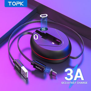 TOPK 3 in 1 Magnetic Charging Cable - MobTeck accessories