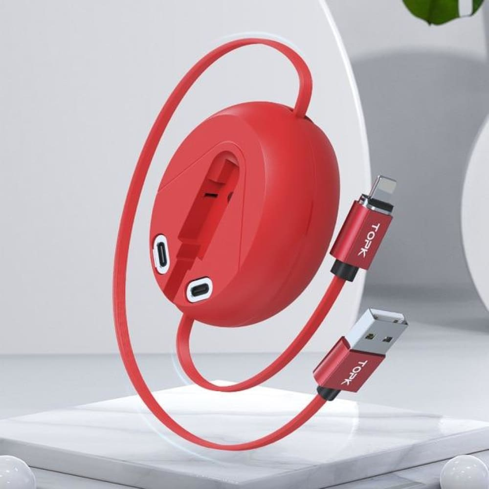 TOPK 3 in 1 Magnetic Charging Cable - Red / 1m - MobTeck