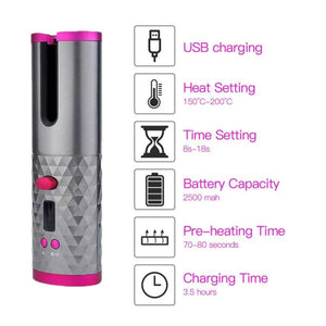 Wireless Hair Curler Iron USB Rechargeable - Beauty Product
