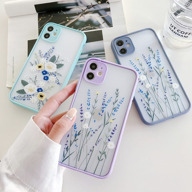 3D Relief Floral Transparent Soft Back Cover