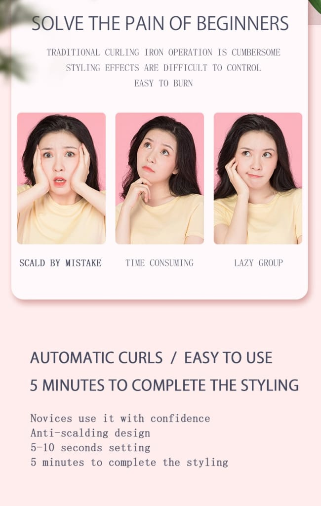 Auto Rotate Hair Curler Ceramic Curling Iron with Wire
