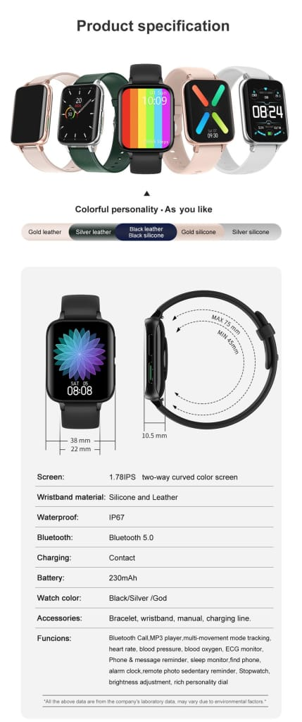 Mobteck-DT93 Curved Display Smartwatch with GPS