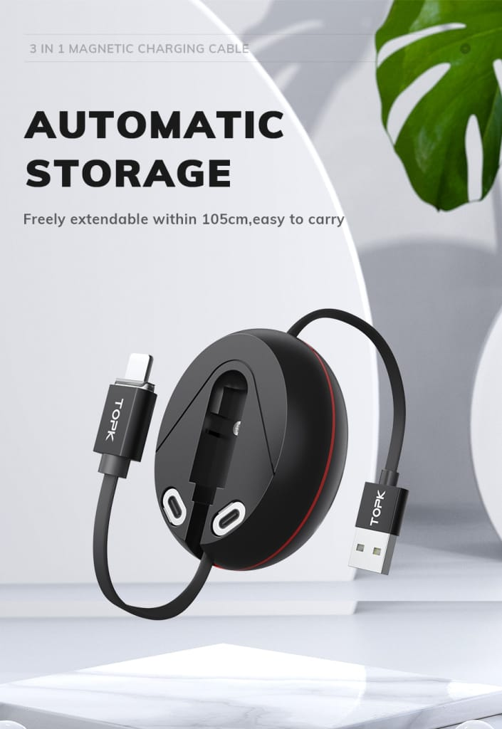 TOPK 3 in 1 Magnetic Charging Cable
