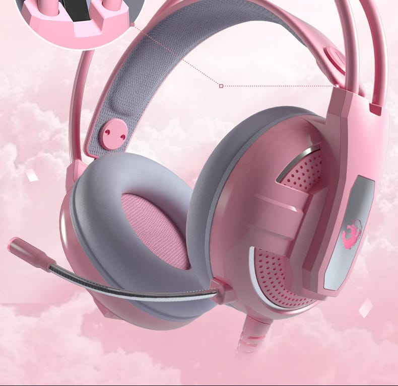 Original YL- Gaming Headphones Wired Girl Pink Stereo Large