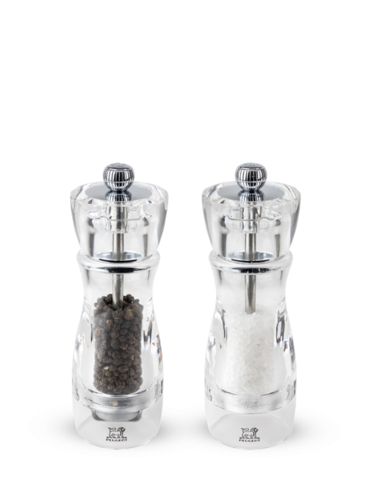 Peugeot Vittel Salt Mill & Pepper Mill Duo Set Clear Acrylic 16cm. Gift Boxed.