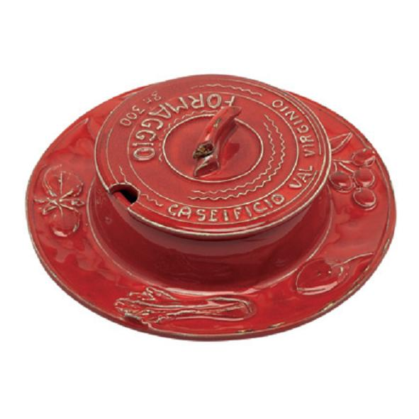 Handmade Italian Ceramic Parmesan Cheese Dish by Virginia Casa 18cm Red