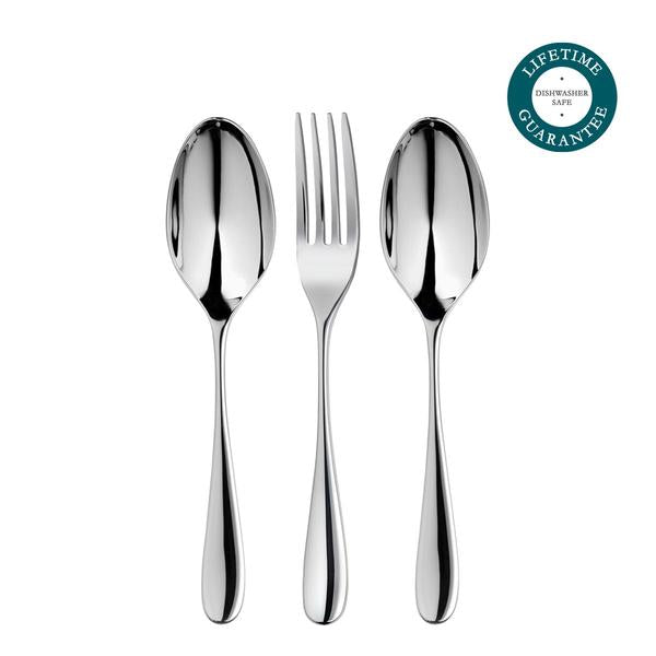 Robert Welch Arden Bright Serving Set 3 Piece in Bright Stainless Steel, Gift boxed, 25 Year Guarantee.