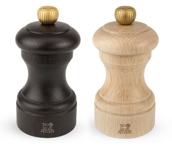 Peugeot Salt Mill and Pepper Mill Set Bistro Dark & Natural Beech 10cm