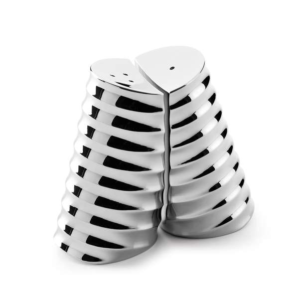Robert Welch Drum Salt and Pepper Shakers in Mirror Polished Stainless Steel