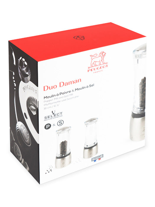 Peugeot Daman Duo Salt and Pepper Mills Set U'Select Gift Boxed Stainless Steel and Acrylic 16cm