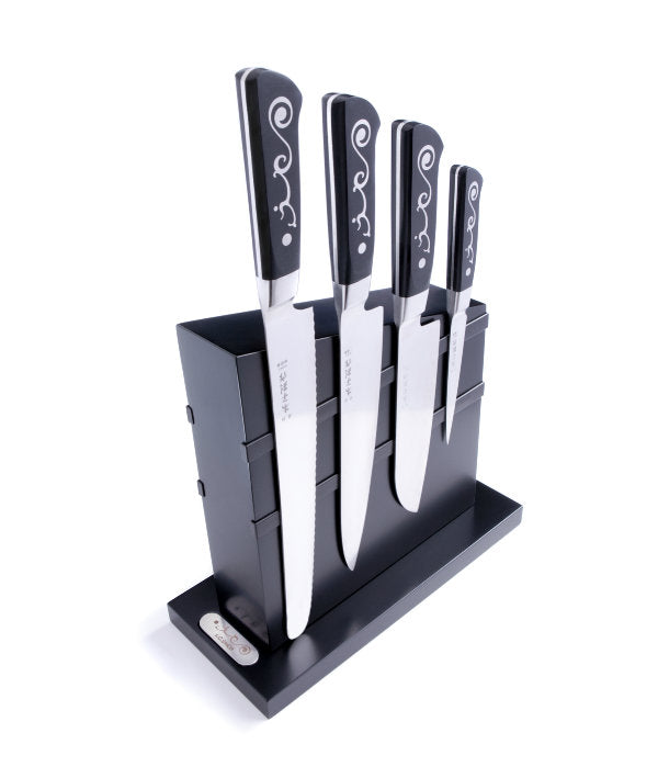 I.O. Shen Magnetic Knife Block Set with 4 Mastergrade Knives - MT703