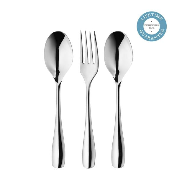 Robert Welch Warwick Bright Serving Set 3 Piece. Made from the highest quality stainless steel. DISHWASHER SAFE. LIFETIME GUARANTEE