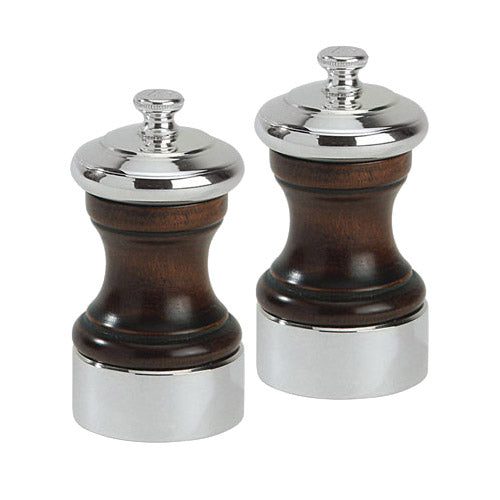 Peugeot Palace Duo Set of Salt and Pepper Mills Silver Plated and Polished Beech 10cm, Gift Boxed
