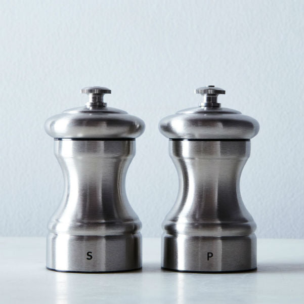 Peugeot Bistro Chef Salt Mill and Pepper Mill Set Stainless Steel 10cm. Gift Boxed, Lifetime Guarantee