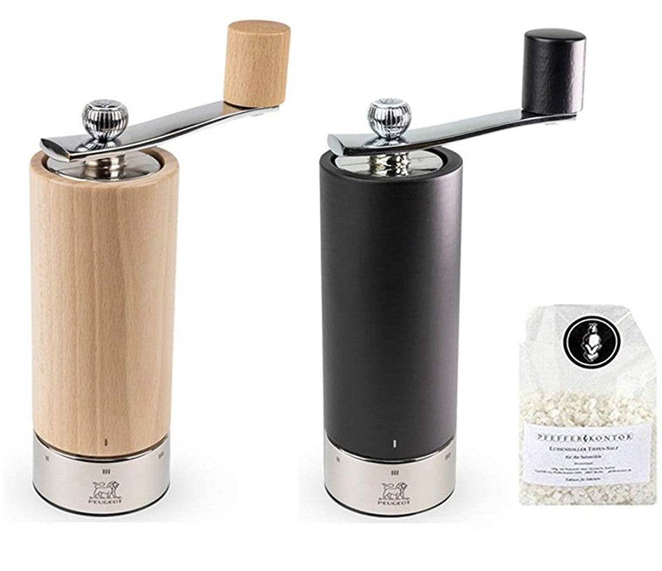 Peugeot Isen Duo 2 Mills, Salt Natural Beech and Pepper Mill Dark Beech, U'Select 18cm