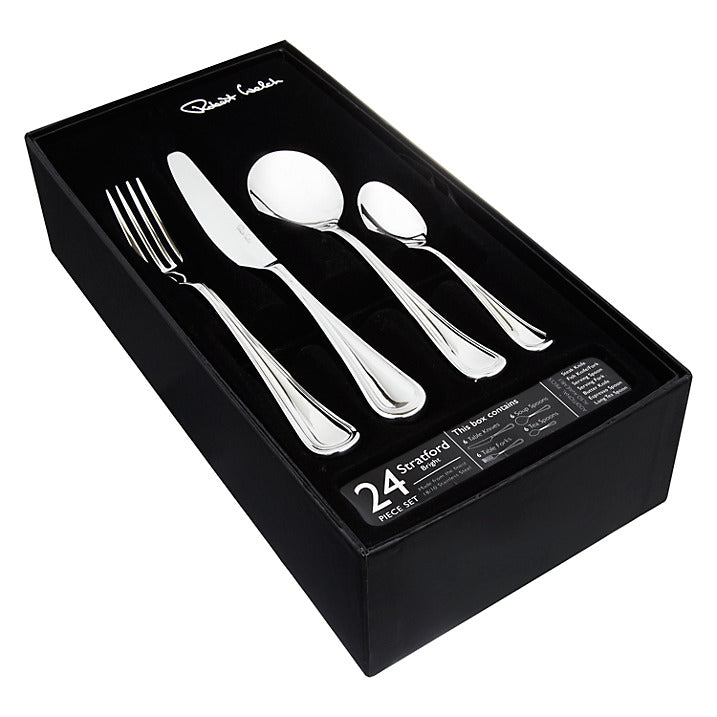 Robert Welch Stratford Bright 24 Piece Cutlery Set for 6 People Special Promotion Limited Stock