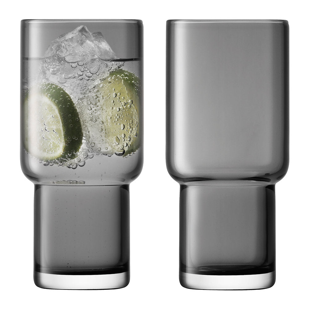 LSA Utility Highball Glasses 390ml in Slate Set of 2 Gift Boxed