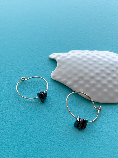 GUDRUN earrings OBSIDIAN CHIPS