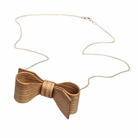 Wooden bow necklace