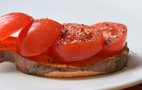 Sweet Potato Toast with Freshly Sliced Tomato