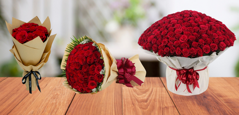 Bouquets of Red Roses for Valentine's Day