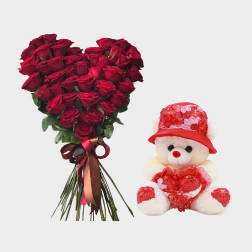 Flowers My Heart in a Bunch & Teddy Combo - mabrook.me