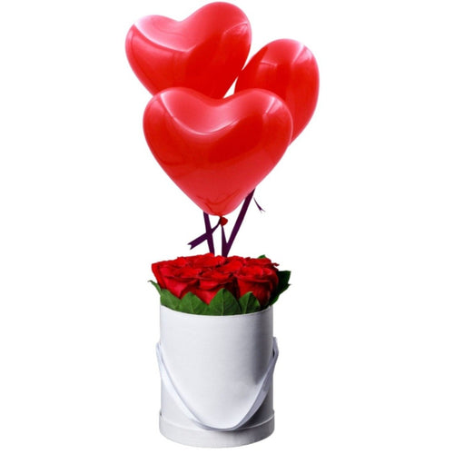 Flowers Bucket of Love & Helium Filled Heart Shaped Balloons - mabrook.me