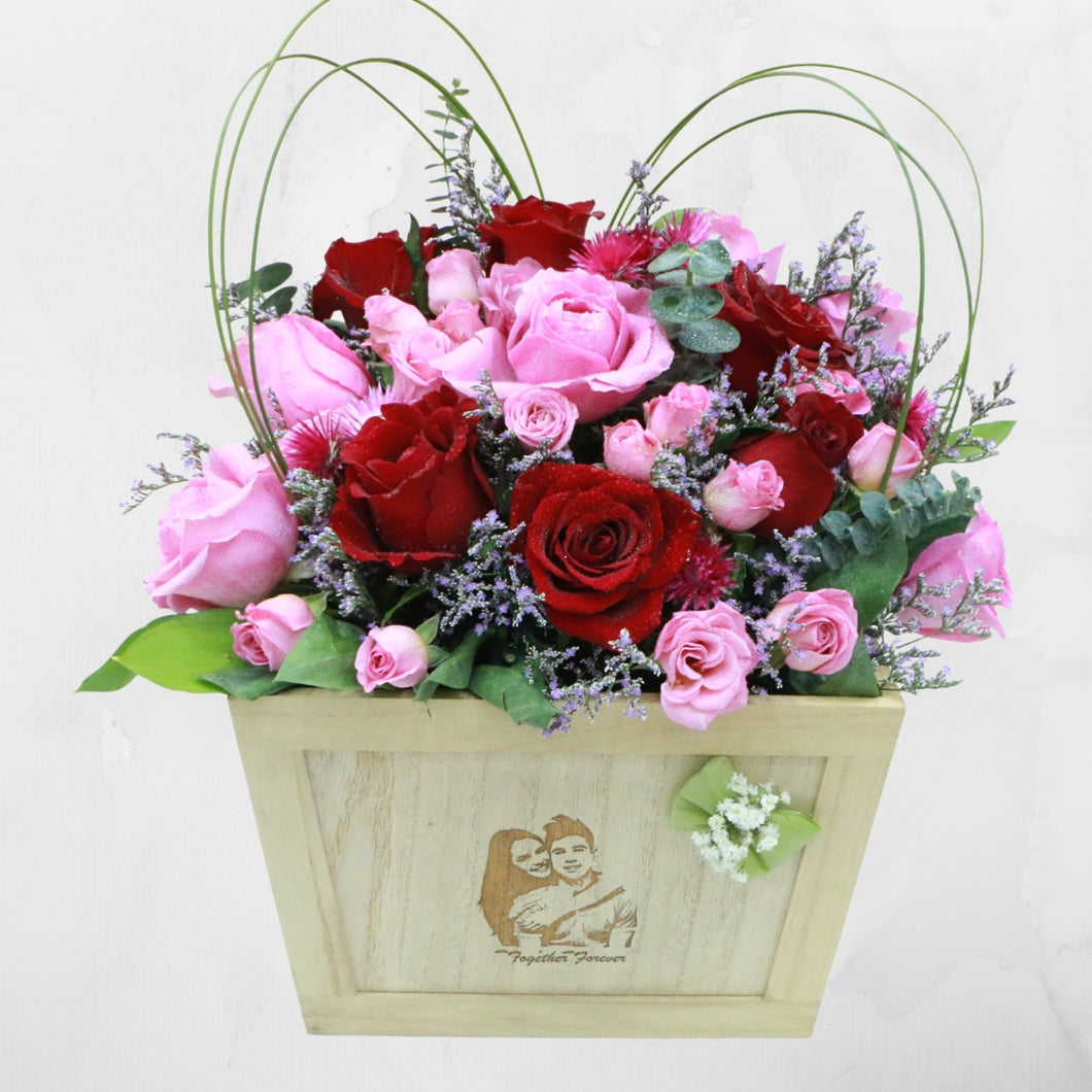 Flowers Us, Forever - Personalized Engraved Photo Box Flowers Arrangement - mabrook.me