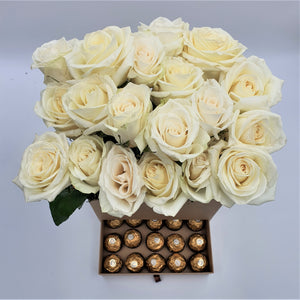 Tall Box of Roses with Drawer of Chocolates - mabrook.me