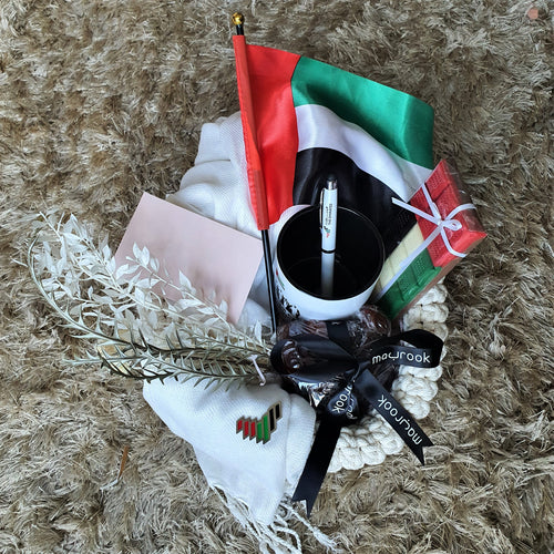 UAE National Day Hamper - White Crochet Basket - mabrook.me
