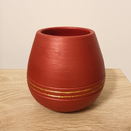 Terracotta Pot Elegant Red Hand-painted Terracotta Pot - mabrook.me