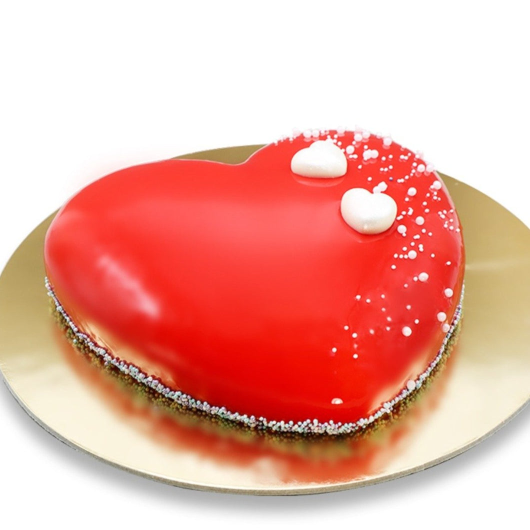 Cake Red Glossy Heart Shaped Cake - mabrook.me