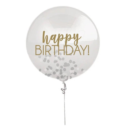 Decor Silver & Gold Happy Birthday Confetti Balloon - mabrook.me