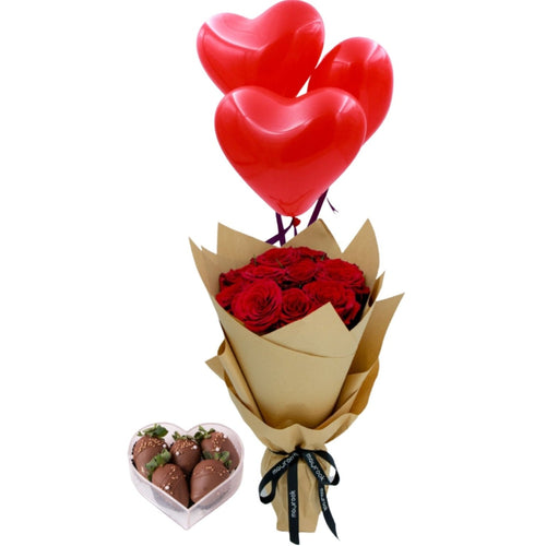Flowers Mabrook Combo of Roses, Strawberries and Balloons - mabrook.me