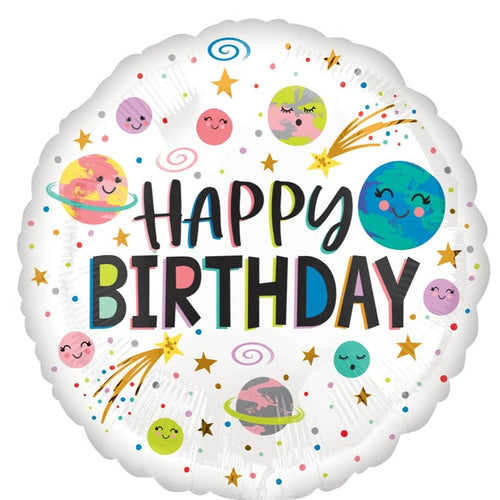 Decor Smiling Galaxy Happy Birthday Foil Balloon - mabrook.me