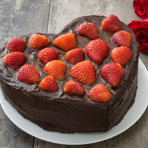 Cake Chocolate Heart, Strawberries on Top - mabrook.me