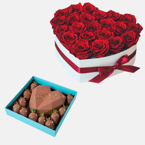 Flowers Heart Felt - Combo of Flowers & Chocolates - mabrook.me