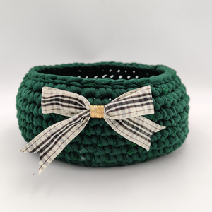 Crochet Baskets Elegant Green Crochet Basket with a Checkered Bow - mabrook.me