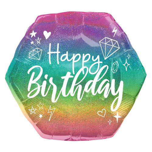 Decor Sparkle Birthday Holo Supershape Balloon - mabrook.me