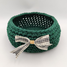 Load image into Gallery viewer, Crochet Baskets Elegant Green Crochet Basket with a Checkered Bow - mabrook.me