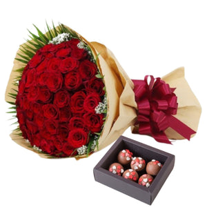 Flowers Sweet Valentine's Combo - Roses and Truffles - mabrook.me