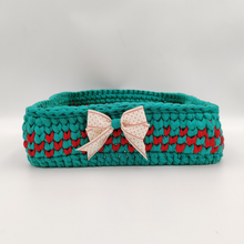 Load image into Gallery viewer, Crochet Baskets Green & Red Wooden Base Crochet Basket - mabrook.me