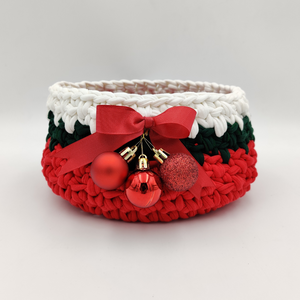 Crochet Baskets Red Christmas Ornaments Hand Knitted Crochet Basket - mabrook.me