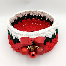 Load image into Gallery viewer, Crochet Baskets Red Christmas Ornaments Hand Knitted Crochet Basket - mabrook.me