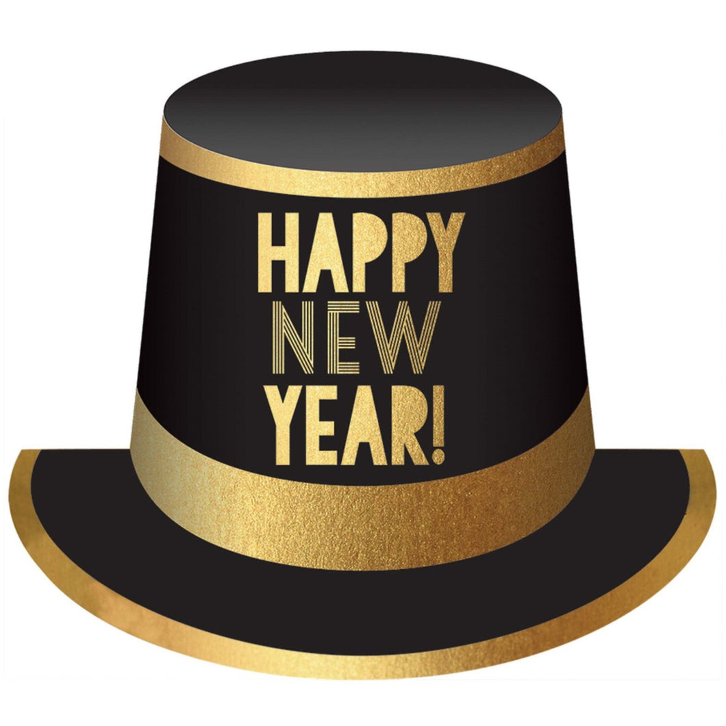 Accessories Happy New Year Black And Gold Top Hat - mabrook.me