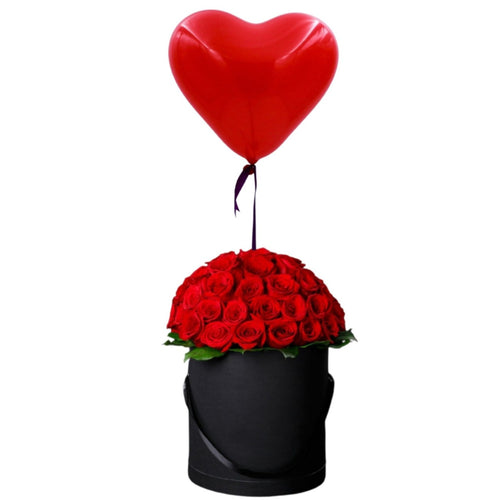 Flowers Floating Hemisphere - Red Roses Arrangement & A Helium Filled Heart Shaped Balloon - mabrook.me