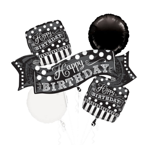 Decor Black & White Chalkboard Birthday Balloon Bouquet - mabrook.me