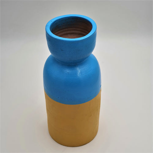 Colors of Morning - Yellow and Blue Painted Terracotta Vase - mabrook.me