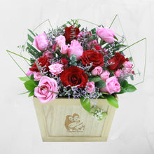 Load image into Gallery viewer, Flowers Etched in Wood - Personalized Wooden Engraved Roses Arrangement - mabrook.me