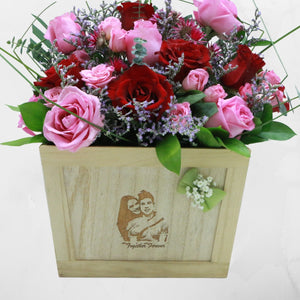 Flowers Etched in Wood - Personalized Wooden Engraved Roses Arrangement - mabrook.me